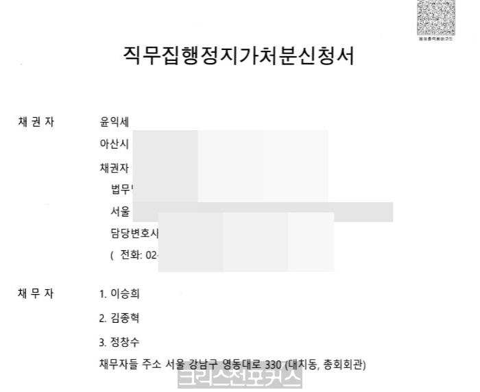 """총회장 직무집행정지가처분 쟁점, """"신청 당사자 적격 여부"""""""